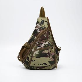 Сумка-слинг, отдел на молнии, 3 наружных кармана, дышащая спинка, с USB, цвет хаки/камуфляж