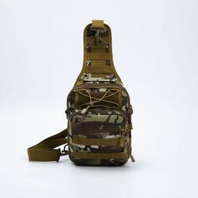 Сумка-слинг, отдел на молнии, 3 наружных кармана, цвет хаки/камуфляж