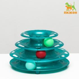 """Игровой комплекс """"Пижон"""" для кошек с 3 шарами""""Пирамида"""" ,15x24x13,2 см, бирюзовый перламутр"""