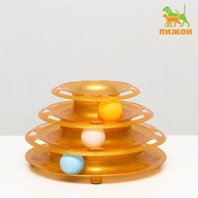 """Игровой комплекс """"Пижон"""" для кошек с 3 шарами """"Пирамида"""",15x24x13,2 см, золотой перламутр"""