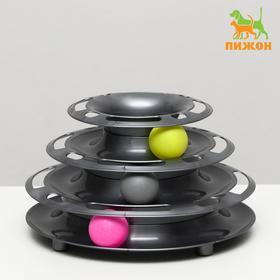 """Игровой комплекс """"Пижон"""" для кошек с 3 шариками """"Пирамида"""",15 x 24 x 13,2 см, серебристый"""