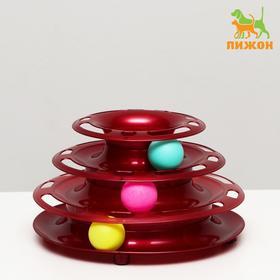 """Игровой комплекс """"Пижон"""" для кошек с 3 шариками """"Пирамида"""",15x24x13,2 см, бордовый перламутр"""