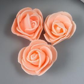 Набор декоративных роз 1,6 см, 3 шт, персиковый