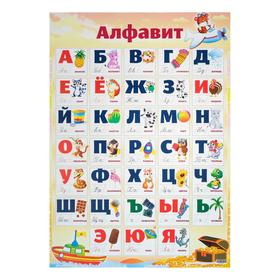 """Плакат """"Алфавит"""", кораблик, самолёт, сундук, А2"""