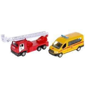 Машина металлическая «Скорая. Спецтехника», 12 см + пожарная, 12 см, открываются двери, инерция