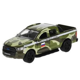 Машина металлическая Ford ranger BC, 12 см, открываются двери и багажник, инерция, с пушкой