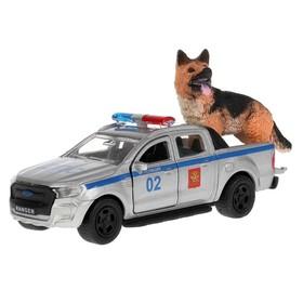 Машина металлическая Ford ranger Pickup, 12 см, собака 4,5 см, открываются двери и багажник, инерция