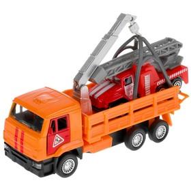 Машина металлическая «KAMAZ эвакуатор», 12 см, открываются двери, подвижные детали, инерция, Урал пожар, 7,5 см