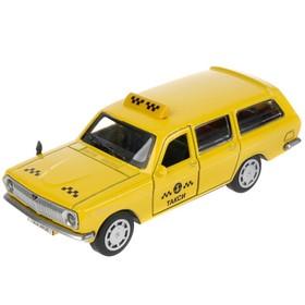 Машина металлическая ГАЗ-2402 «Волга такси», 12 см, открываются двери и багажник, цвет жёлтый