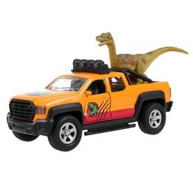 Машина металлическая «Пикап», 13,3 см, световые и звуковые эффекты, открываются двери и багажник, инерция, динозавр 9 см