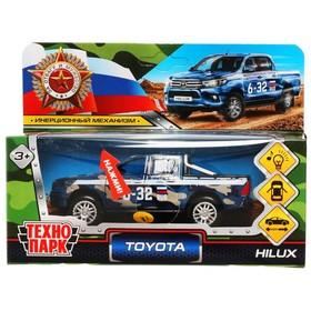 Машина металлическая Toyota Hilux, 12 см, световые и звуковые эффекты, двери, цвет синий камуфляж