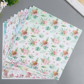 """Набор бумаги для скрапбукинга """"Морской бриз"""" 12 листов 30,5х30,5 см"""