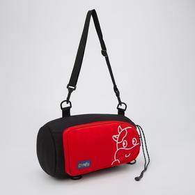 Сумка-рюкзак, отдел на шнурке, наружный карман, длинный ремень, цвет чёрно-красный