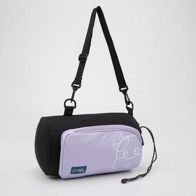 Сумка-рюкзак, отдел на шнурке, наружный карман, длинный ремень, цвет чёрно-сиреневый