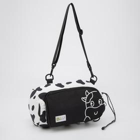 Сумка-рюкзак, отдел на шнурке, наружный карман, длинный ремень, цвет чёрно-белый