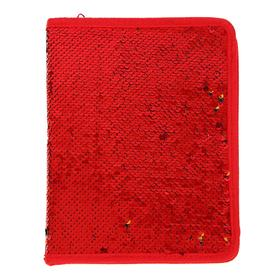 Папка для тетрадей формат А5, на молнии, Пайетки двуцветные красно-золотистые