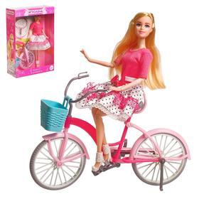 """Кукла модель """"Арина"""" шарнирная, с велосипедом, с аксессуарами"""