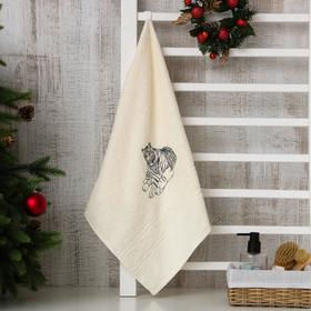 Полотенце махровое (в коробке) «Год тигра» 50х90 см, цвет белый МИКС