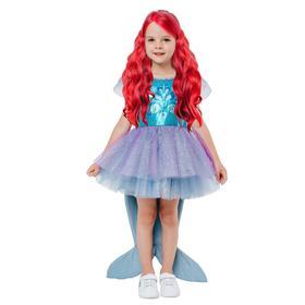 Карнавальный костюм «Русалочка Ариэль», платье с хвостом, парик, р. 28, рост 110 см