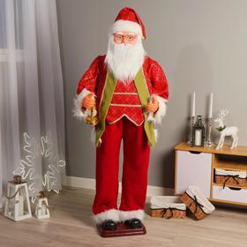 """Дед Мороз """"В красно-зелёном костюме, с фонариком"""" двигается, 160 см"""