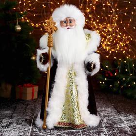 """Дед Мороз """"В красной шубе, с узорным посохом"""" двигается, 22х50 см"""