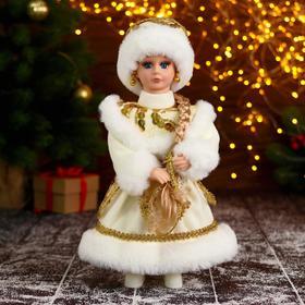 """Снегурочка """"В пышной шубке"""" с золотистыми украшениями, 14х30 см"""