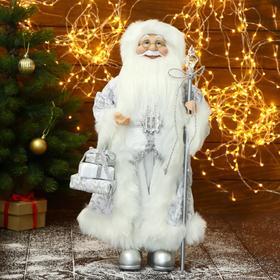 """Дед Мороз """"В белом костюме, с посохом и подарками"""" 27х50 см"""