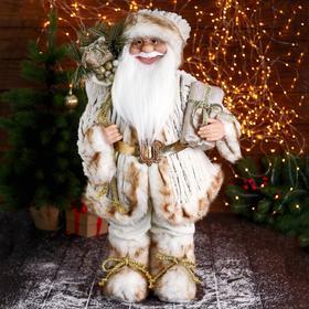 """Дед Мороз """"В бело-коричневом костюме, с ремешком, с подарками"""" 35х60 см"""