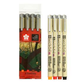 Набор ручек капиллярных 4 цвета, Sakura Pigma Micron Van Gogh Museum 0.45мм (цвета: оранжевый, красный, коричневый, чёрный)