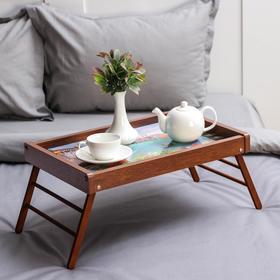 Столик-поднос для завтрака «Венеция», 49,5×32 см, цвет коричневый
