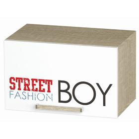 Шкаф навесной Сенди для мальчика 484х302х300 дуб сонома/белый