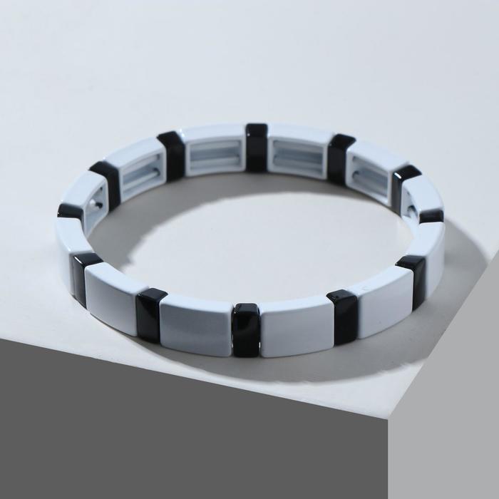 """Браслет металл """"Стойкость"""" прямоугольник, цвет чёрно-белый - фото 2961295"""