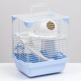 Клетка для грызунов укомплектованная, 23 х 19 х 28 см, голубая