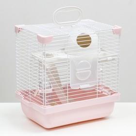 Клетка для грызунов укомплектованная, 27 х 19 х 28 см, розовая