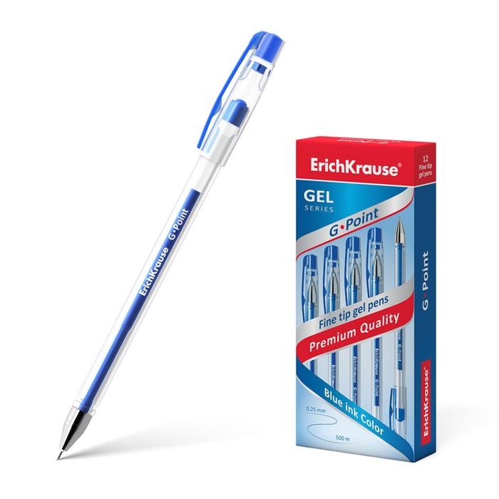 Ручка гелевая G-POINT узел-игла 0.38мм, чернила синие, длина линии письма 500м