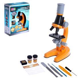"""Микроскоп детский """"Юный ботаник"""" кратность х100, х400,  х1200, оранжевый, подсветка"""