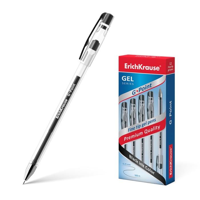 Ручка гелевая G-POINT узел-игла 0.38мм, чернила черные, длина линии письма 500м