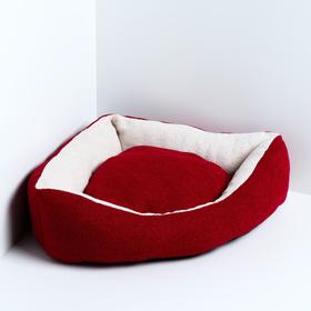Лежанка угловая, мебельная ткань, 45 х 63 х 16 см, красная