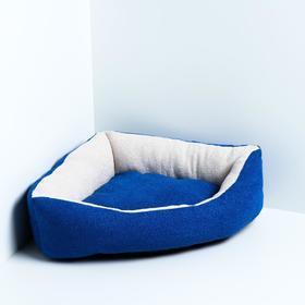 Лежанка угловая, мебельная ткань, 45 х 63 х 16 см, синяя
