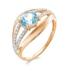 """Кольцо позолота """"Красота"""" 20-07760, цвет бело-голубой в золоте, размер 17"""