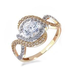 """Кольцо позолота """"Красота"""" 20-05757, цвет белый в золоте, размер 17"""