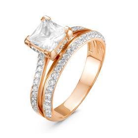 """Кольцо позолота """"Красота"""" 20-05522, цвет белый в золоте, размер 16,5"""