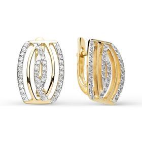 """Серьги позолота """"Красота"""" 10-02467, цвет белый в золоте"""
