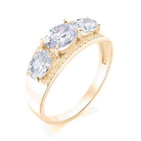 """Кольцо позолота """"Драгоценность"""" 20-05955, цвет белый в золоте, размер 17,5"""