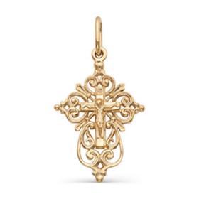 """Подвеска позолота """"Православный крест"""" 51-01093, цвет золото"""
