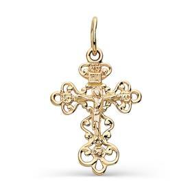 """Подвеска позолота """"Православный крест"""" 51-02824, цвет золото"""