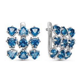 """Серьги посеребрение """"Льдинки"""" 10-07283, цвет голубой в серебре"""