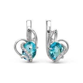 """Серьги посеребрение """"Сердце"""" 10-05944, цвет бирюзовый в серебре"""