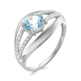 """Кольцо посеребрение """"Красота"""" 20-07760, цвет бело-голубой в серебре, размер 17"""