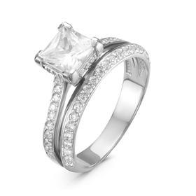 """Кольцо посеребрение """"Красота"""" 20-05522, цвет белый в серебре, размер 16,5"""